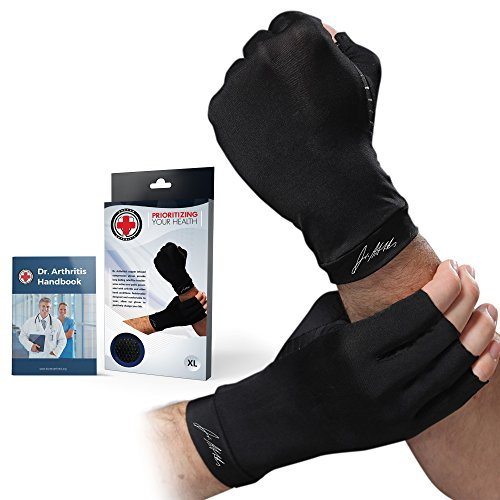 Doctor Developed Copper Arthritis Gloves / Compression Gloves for Women & Men and Doctor Written Handbook - Useful for Arthritis, Raynauds, RSI, Carpal tunnel (Black, M)
