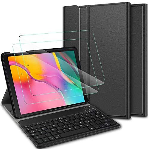 ELTD Tastatur Hülle mit Panzerglas für Samsung Galaxy Tab A 10.1 2019,Deutsches QWERTZ Tastatur mit Schützhülle und Glas Displayschutz für Samsung Galaxy Tab A T510/T515 10.1 Zoll,Ink
