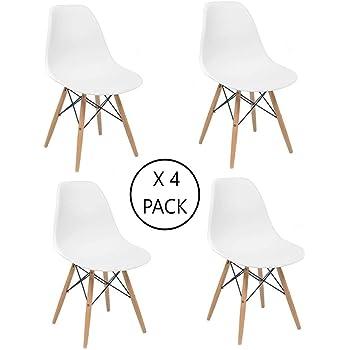 Home Heavenly - Pack 4 sillas Comedor salón NÓRDICA, Blanca con ...