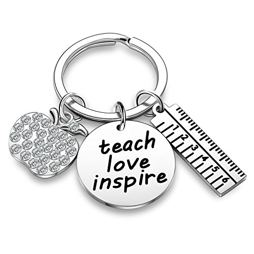 Teacher Appreciation Gift Crystal Charm Ruler Charms Teacher Keychain Thank You Gifts Jewelry Gift for Teacher (Teach Love Inspire)
