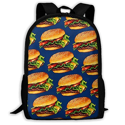 sghshsgh Mochilas Tipo Casual School Backpack Yummy Burger 3D Adult Outdoor Leisure Sports Backpack High School Computer Bag