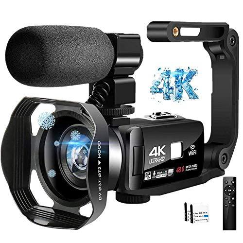 ビデオカメラ4K デジタルビデオカメラ YouTubeカメラ48MP 16倍デジタルズームWi-Fi機能 手持ちスタビライザー 外付けマイク 360°遠隔操作 IR夜視機能 予備バッテリー タッチモニター ウェブカメラ用 タイムラプス撮影 安定ハンドルグリップ 日本語システム+説明書