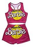 Women Sleeveless Split 2 Piece Set 3D Print Short Pants Casual Outfit Sportswear,Barbie,S