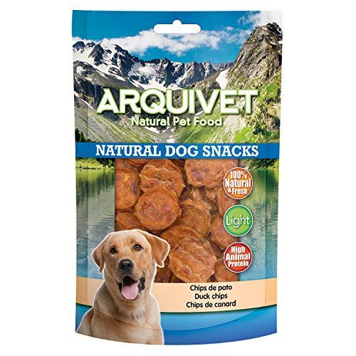 Arquivet Chips de pato para perros - Snacks naturales para perro - Golosinas para perro - Chuches para perro - Premios y recompensas caninas - Comida para perros - 100 g
