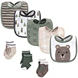 Hudson Baby Unisex Baby Cotton Bib and Sock Set, Forest Bear, One Size