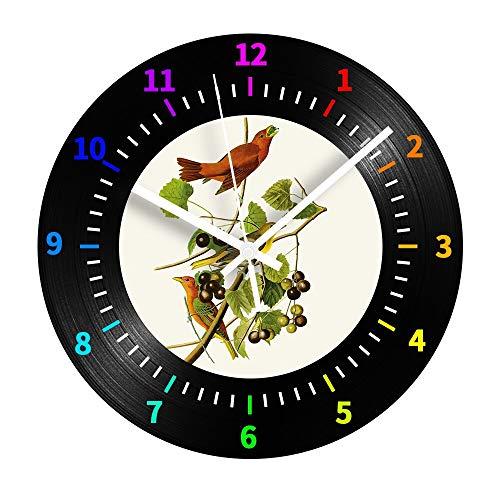 30cm Frutas Reloj de pared digital decorativo Pájaros silenciosos Vinilo Reloj de registro vintage para la habitación de los niños Decoración del hogar Regalo Reloj de pared Regalo del día de los ni