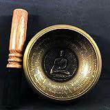 DLVKHKL Cuenco tibetano para cantar budismo con alfombrilla para meditación, yoga, budismo, regalos para decoración del hogar, manualidades