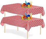 YANGTE - Juego de 6 manteles desechables de plástico, rectangulares, 137 x 274 cm, para mesas de interior o exterior, fiestas de cumpleaños, bodas, Navidad (rojo)