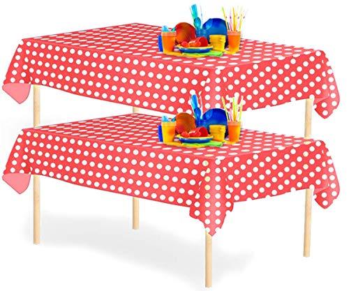 YANGTE - Juego de 4 manteles rectangulares de plástico desechables con diseño de lunares, 137 x 274,3 cm, para mesas de interior o exterior, fiestas de cumpleaños, bodas, Navidad