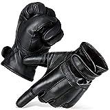 Black Snake 1 Paar Security Quarzsandhandschuhe Defender Einsatzhandschuhe aus echtem Leder Schwarz/Fleecefutter L