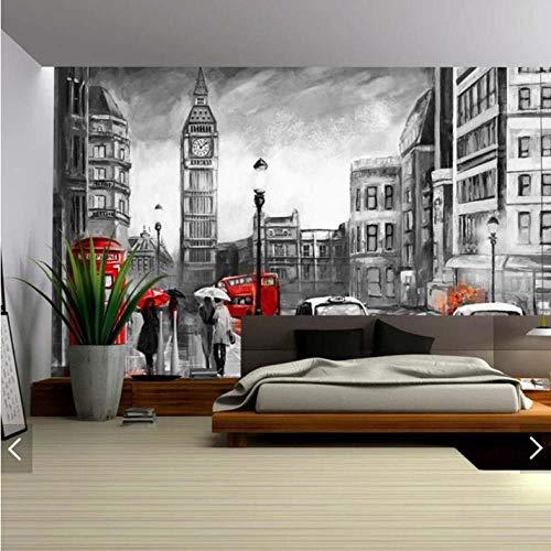 Pbbzl 3D Modern Vintage Londen Rood Zwart Landschap Behang Muurschildering Sticker voor slaapkamer Hd Gedrukt bus behang Aangepaste 120 x 100 cm.