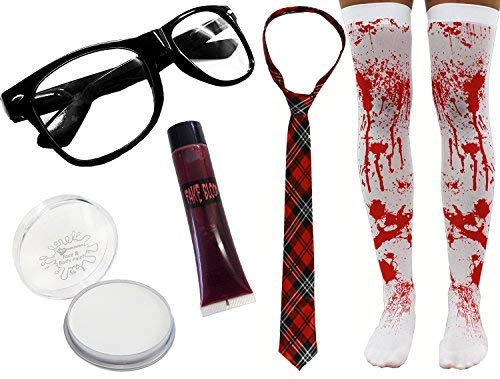 I LOVE FANCY DRESS LTD Damen Zombie SCHULMÄDCHEN Halloween KOSTÜM Horror Geek Set 5 STÜCK UNHEIMLICH Nerd (SCHOTTENKARO Krawatte)