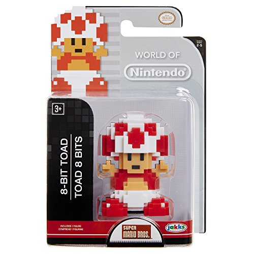 World of Nintendo Mario 8 Bit Red & White Toad Action Figure 2.5 Inch