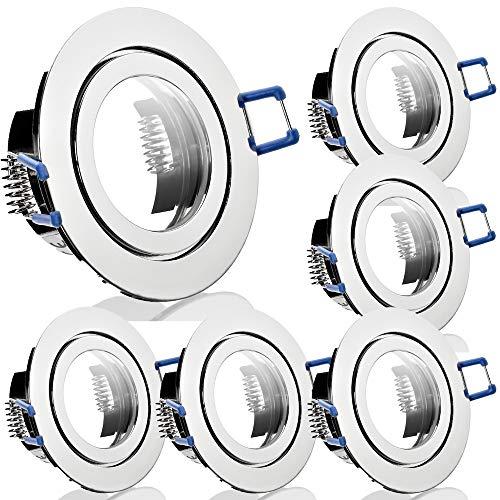 6 x Bad Einbaustrahler 12V inkl. MR16 Fassung Farbe Chrom IP44 Einbauleuchten Aqua Rund Deckenspots
