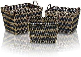 Scott Living Blue Chevron Seagrass Basket, Assorted