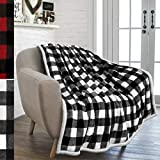 PAVILIA Buffalo Check Sherpa Blanket Throw | Fuzzy White Black Checkered Flannel Fleece Blanket for Couch Bed | Fluffy Warm Cabin Plaid Plush Microfiber Blanket | 50x60