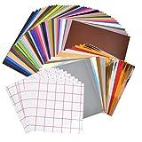 QLOUNI 60 Stück 30.5cm x 30.5cm Vinylfolie, 10 Blättern Transferband, Wärmeübertragungsfolie für DIY T-Shirt