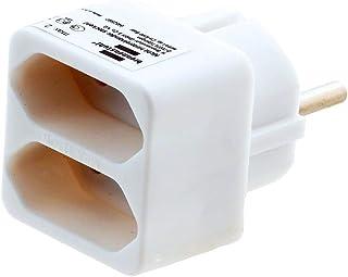 Brennenstuhl meervoudige stekkerdoos, stekkeradapter 2-voudig eurostopcontact met kinderbeveiliging, kleur: wit Single 1 S...