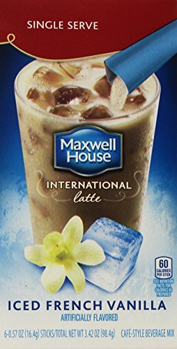 Maxwell House, International Cafe Iced Latte, French Vanilla, Single Serve Packets, 6/0.57oz Packets