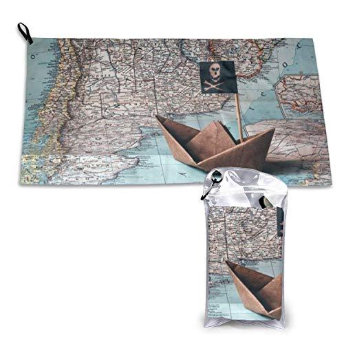 Toalla de playa de microfibra de secado rápido, diseño de mapas piratas, ligera, superabsorbente, toalla de viaje para camping, senderismo, playa, 38 x 81 cm.