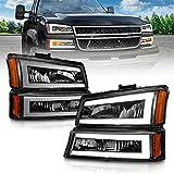 AmeriLite for 2003-2006 Chevy Silverado 1500 2500 3500 | Avalanche Pickup LED Halo Bars Tube Black Headlights w/Bumper Turn Signal lamp Set - Driver and Passenger Side