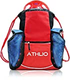 Legendary Drawstring Gym Bag - XL Capacity | Fits All Sports Gear | Waterproof Heavy-Duty Sackpack (Red)