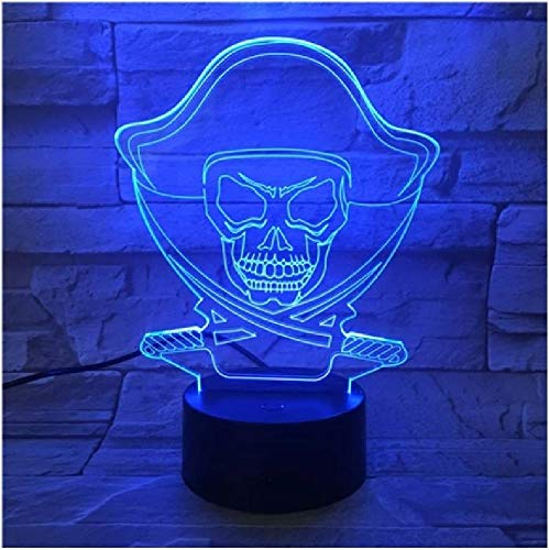 Halloween Pirate Cool Gift Led Creative Night Lamp High Quality Acrylic 3D Lights Baby Bedroom Table Lamp with USB Cable