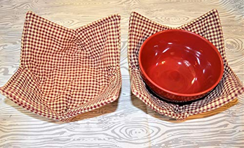 Set of 2 Rustic Red Gingham Check Bowl Cozy Homespun