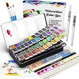 RATEL Aquarellfarben Set, Aquarell Malkasten Inklusive 48 Farben Festes Pigment + 3 Pinsel + 2 Wassertankpinsel + 10 Aquarellpapiere - wasserlöslich und gut mischbar Aquarell-Farben-Set
