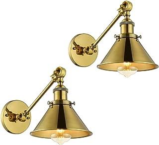 2 Pack Swing Arm Wall Light Adjustable Brass Finish Wall Sconce - LITFAD 7