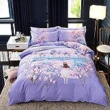 yaonuli 4-teiliger Bettbezug Wonderland aus Baumwoll-Schleifpapier, 1,8 m Bettbezug 200 * 230 cm
