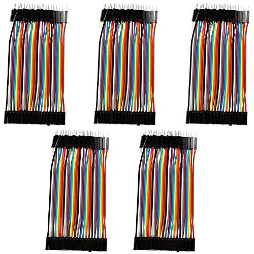 Akozon Conectores de Alambre de Puente Dupont 5pcs 10cm Colorido Jumper Wires 40pin Cable DuPont Macho a Hembra para Breadboard Arduino