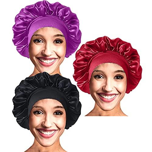 VEGCOO 3 Pièces Bonnet Satin Cheveux Nuit, Chapeaux de Sommeil, Couche Double Bonnet en Soie, Bonnet De Sommeil Réglable avec Cordon pour Femmes Filles (D-Noir, Rouge, Violet(3pcs))