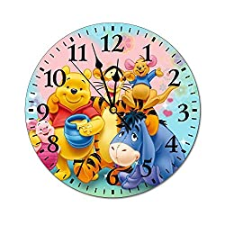 UHBBT 10 inch Fashion Indoor Silent Decorative Battery Operated Lager Wall Clock for Living Room Home Office School Rustic Clock Round Wall Clock-Winnie The Pooh and Tigger