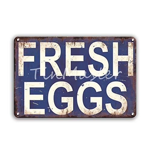 Cartel de chapa de metal de huevo retro Área 51 advierte contra el uso no autorizado de pintura de estaño Restaurante Casa de campo familiar Decoración de pared Placa de metal 20x30cm 30156