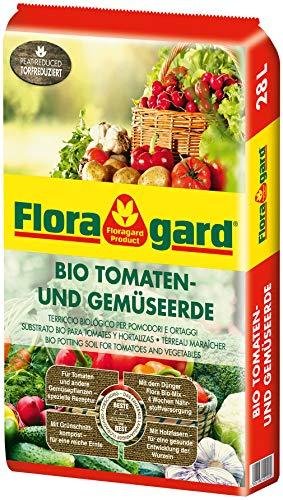 Floragard Bio Tomaten- und Gemüseerde 28 L - torfreduzierte Spezialerde für Tomaten, Salat, Paprika, Gurken und anderes Gemüse