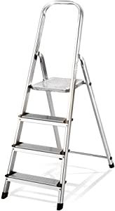 Folding Ladder Home Indoor Multi-function Ladder Ladder Aluminum Escalator Four-step Staircase  Silver  Size 28 5x44x83 5cm