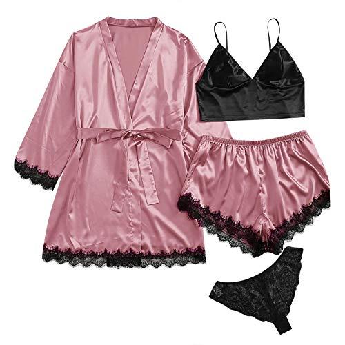 4PC Suit Nachtwäsche Damen Satin Pyjamas Set Sexy Dessous Unterwäsche Babydoll Komfortabel Morgenmantel Kimono Spitze Kurz Bademantel Robe Mit Cami und Panties und Shorts