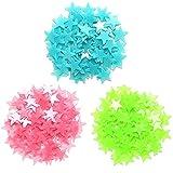 Qiwenr 300 Pezzi Di Plastica Adesivi Murali Luminosa Stelle,Stelle Adesive Fluorescenti Stelle Fluorescenti Luminose, per Grandi e Piccoli,Fluorescenti e Brillanti al Buio(Rosa&Blu&Verde)