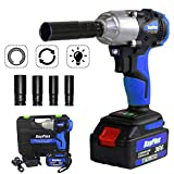 18V Electric Impact Wrench 1/2 inch Square Drive Wrench Tool with Battery 6.0Ah