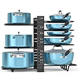 ORDORA Pot and Pan Organizer for Cabinet, 8 Tier Pot Rack with 3 DIY Methods, Adjustable Pot & Pan Holder Under Cabinet for Kitchen, Pot Lid Holders, Lid Organizer for Pots and Pans