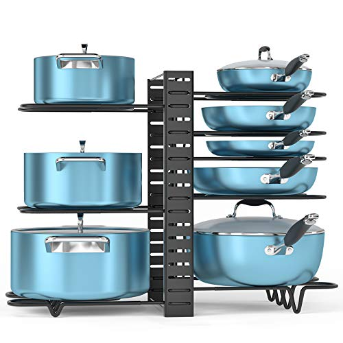 ORDORA Pot and Pan Organizer for Cabinet 8 Tier Pot Rack with 3 DIY Methods Adjustable Pot Pan Holder Under Cabinet for Kitchen Pot Lid Holders Lid Organizer for Pots and Pans