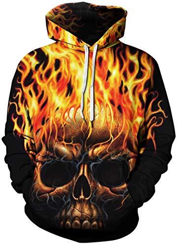 Chaos World Men's Novelty Hoodie Realistic 3D Print Pullover Unisex Casual Sweatshirt(5XL,Fire Skull)