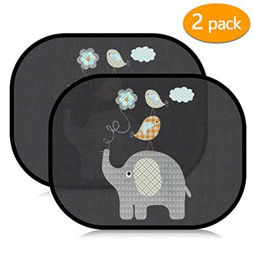 Acelife Auto Sonnenshutz Baby, Universeller Auto Sonnenblende 2 Stück mit UV Schutz, Selbsthaftende Sonnenblenden für Kinder, Autofenster Sonnenschutz + Tasche (Elefanten)