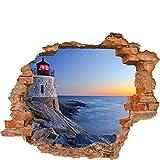 Carta da parati foto 3D Foro nella parete Faro sulla costa mare calmo acqua dell'oceano Costa rocciosa Sera