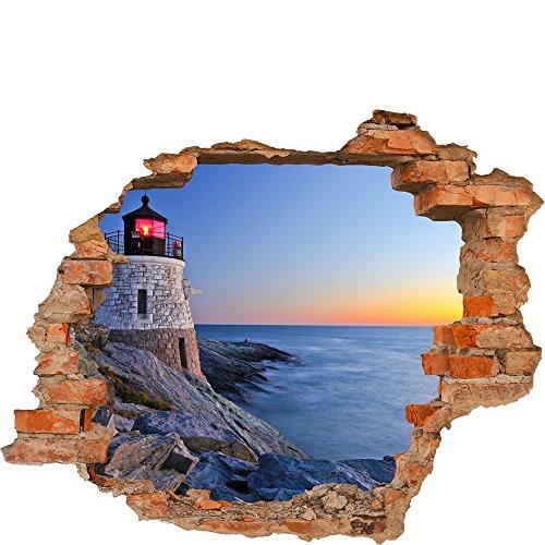 Fototapete 3D Bild Tapete Loch in der Wand Leuchtturm an der Küste Meer Ozean Wasser an der felsigen Küste Abend