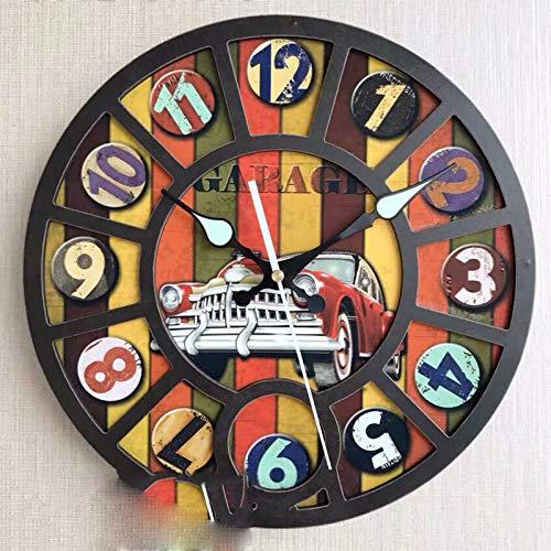 ZZWBOX Relojs Pared Reloj de Pared de Hierro Forjado Barrido silencioso Reloj Redondo Sala de Estar Retro Reloj Decoración del Reloj