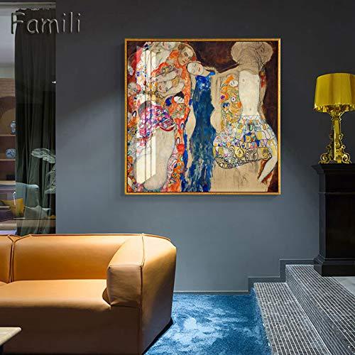 yiyiyaya Quadros Gustav Klimt Mutter und Baby gedruckt abstrakte Kunst Ölgemälde auf Leinwand Wandkunst druckt Bild für Wohnzimmer Home Decor 50x50cm