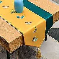 結婚式の刺繍のテーブルランナーイエロー&グリーン、120-320cmロングダイニングタッセルテーブルスカーフ台所の食事、洗える (Color : A, Size : 34×240cm/13.4×94.5inch)