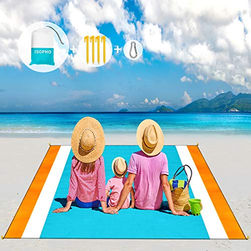 ISOPHO Sand Free Beach Blanket, 10'X 9' Picnic Blankets Waterproof Sandproof for 5-8 Adults, Extra Large Lightweight Beach Mat, Outdoor Blanket for Camping, Travel, Hiking